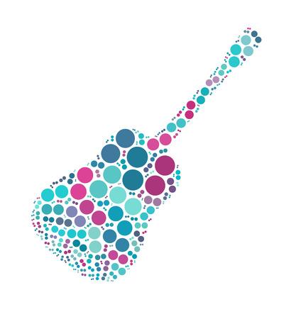classique conception de forme de guitare par point de couleur