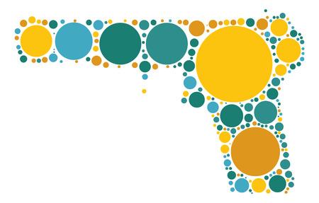 gun control: pistol shape design by color point