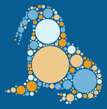 walrus: walrus shape vector design by color point Illustration