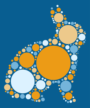 lapin silhouette: rabbit shape vector design by color point