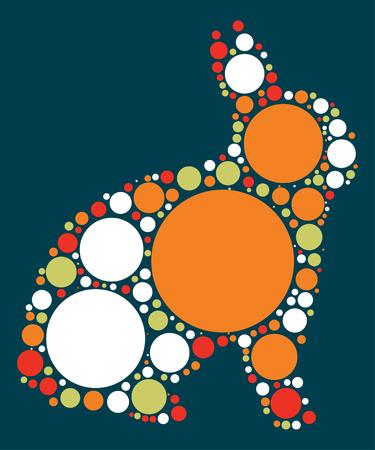 silhouette lapin: conception de forme de lapin par point de couleur