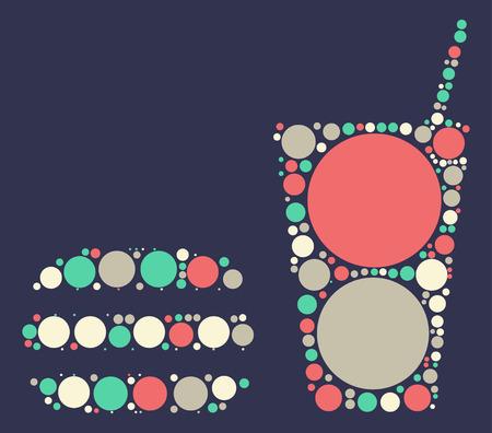 hamburg: Hamburg beverages shape vector design by color point