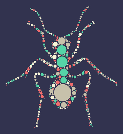 formica: ant shape vector design by color point