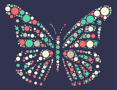 silhouette papillon: forme de papillon conception de vecteur par point de couleur