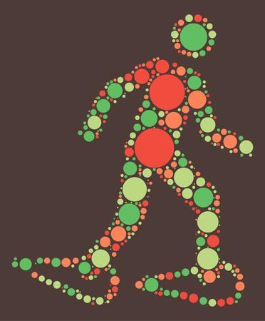 雪のハイキング形状、カラー ポイントによってベクトル デザイン  イラスト・ベクター素材