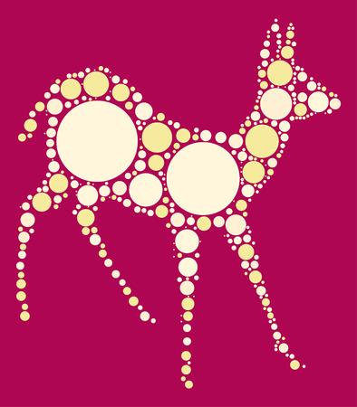 whitetail deer: deer shape vector design by color point Illustration