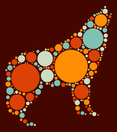 canis: wolf shape vector design by color point