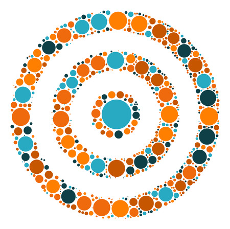 shooting at goal: target practice shape  design by color point
