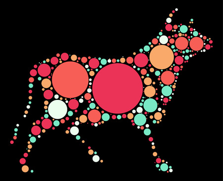 graze: Cattle shape design by color point Illustration