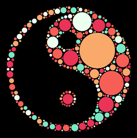 chi: tai chi shape, vector design by color point Illustration
