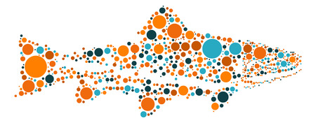 white salmon river: salmon shape, vector design by color point