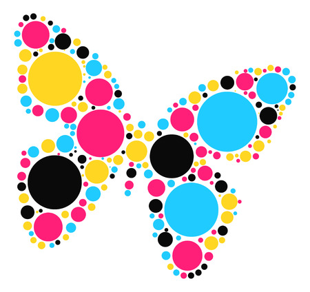 silhouette papillon: conception de forme de papillon par point de couleur