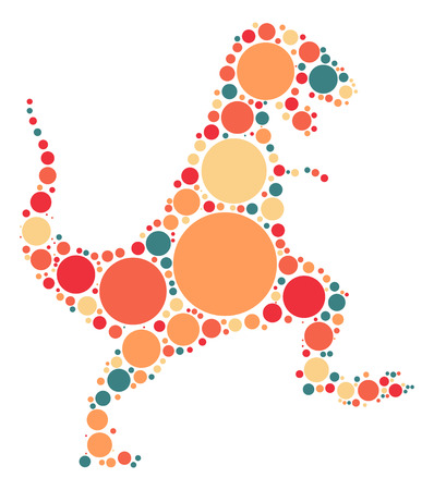 Tyrannosaurus Rex shape design by color point