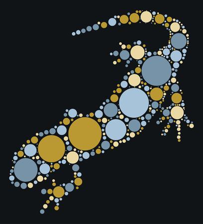 lizard shape design by color point Illustration