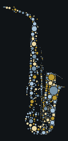 saxophonist: Saxophone shape design by color point