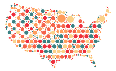 United States Map Shape Vector Design By Color Point Royalty Free ...
