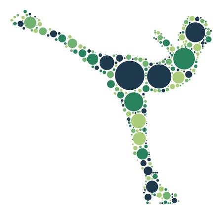 winter dance: Figure Skating shape design by color point