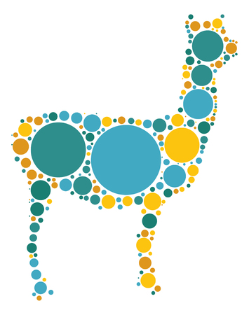Alpaca shape design by color point Illustration