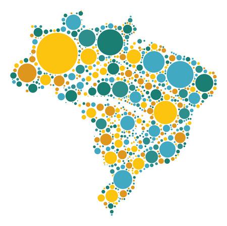 brazil map: Brazil map shape design by color point Illustration