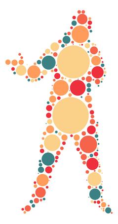 rapero: dise�o de la forma rapero por punto de color Vectores