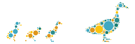 mallard: duck shape design by color point