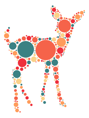 whitetail deer: deer shape design by color point