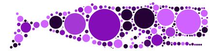 whale shape design by color point