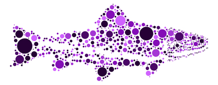salmon leaping: salmon shape design by color point