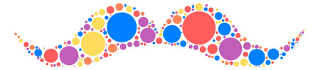 Moustache shape design by color point