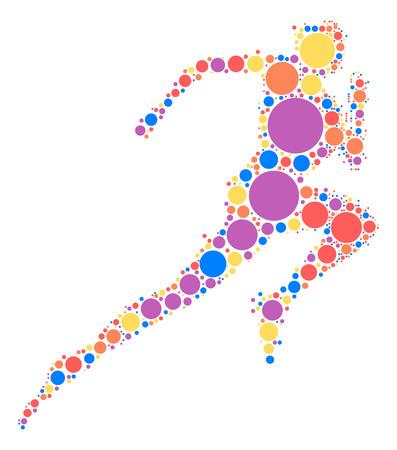 색상 포인트 별 러너 모양 디자인 일러스트