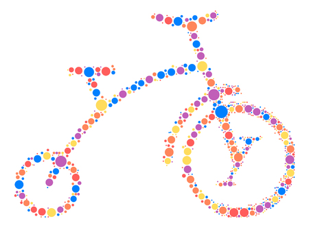mountain silhouette: bicycle shape design by color point Illustration