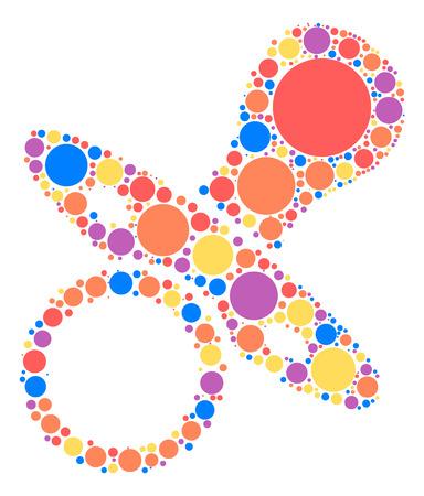 Pacifier shape design by color point Illustration