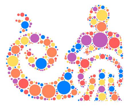 Aquarius shape design by color point Illustration