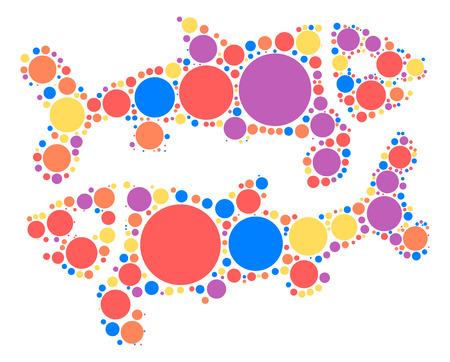 Pisces shape design by color point Illustration