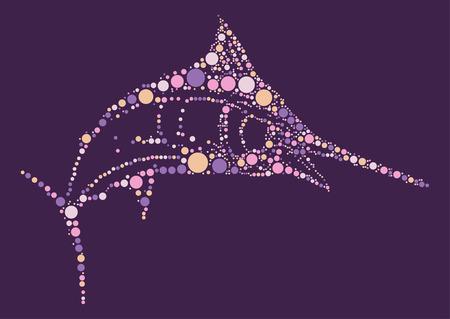 swordfish shape design by color point Illustration