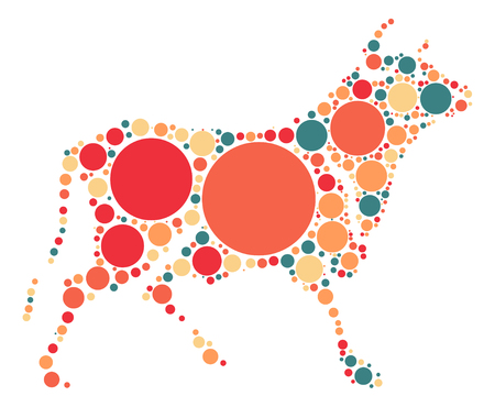 cattle: Cattle shape design by color point Illustration