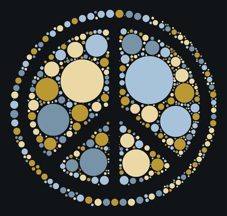 Peace sign shape design by color point Illustration