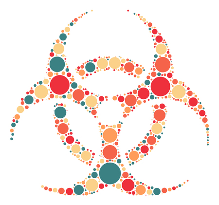 biological hazards: Biochemical icon shape design by color point Illustration