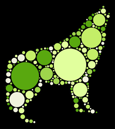 lupus: wolf shape design by color point Illustration