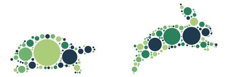 lapin silhouette: Tortue Lapin conception de vecteur de forme par point de couleur Illustration