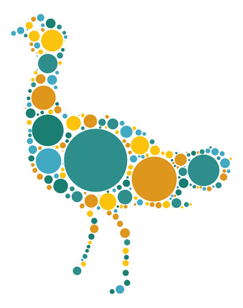 flightless: Emu shape vector design by color point