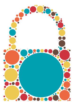 encrypt: lock shape vector design by color point