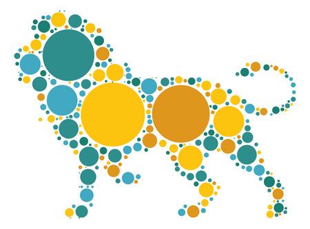 lion shape vector design by color point