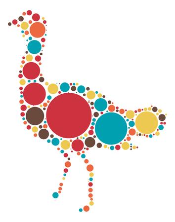 emu: Emu shape vector design by color point