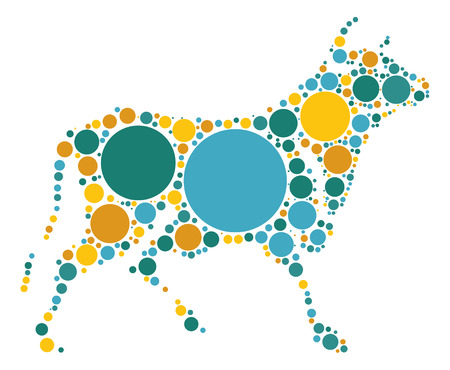 graze: Cattle shape vector design by color point
