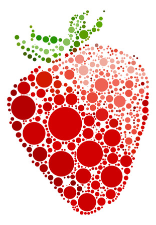 closeup: Strawberry shape vector design by color point