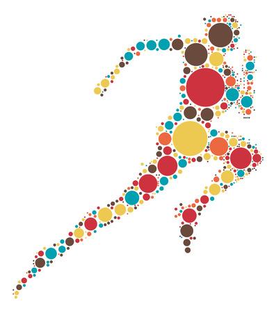색상 포인트 별 러너 모양 벡터 디자인 일러스트