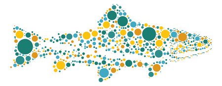 salmon leaping: salmon shape vector design by color point Illustration