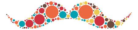 hair mask: Moustache shape vector design by color point