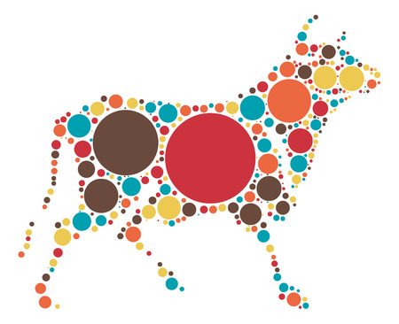 Cattle shape vector design by color point